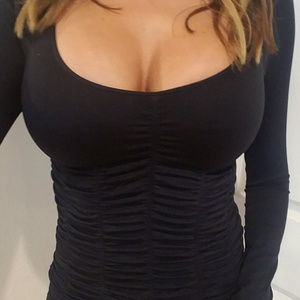 Tops - BLACK SEAMLESS RUCHED LOW CUT SEXY LONG SLEEVE TOP